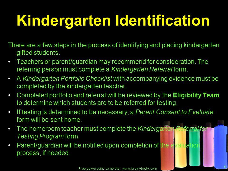 Kindergarten Identification