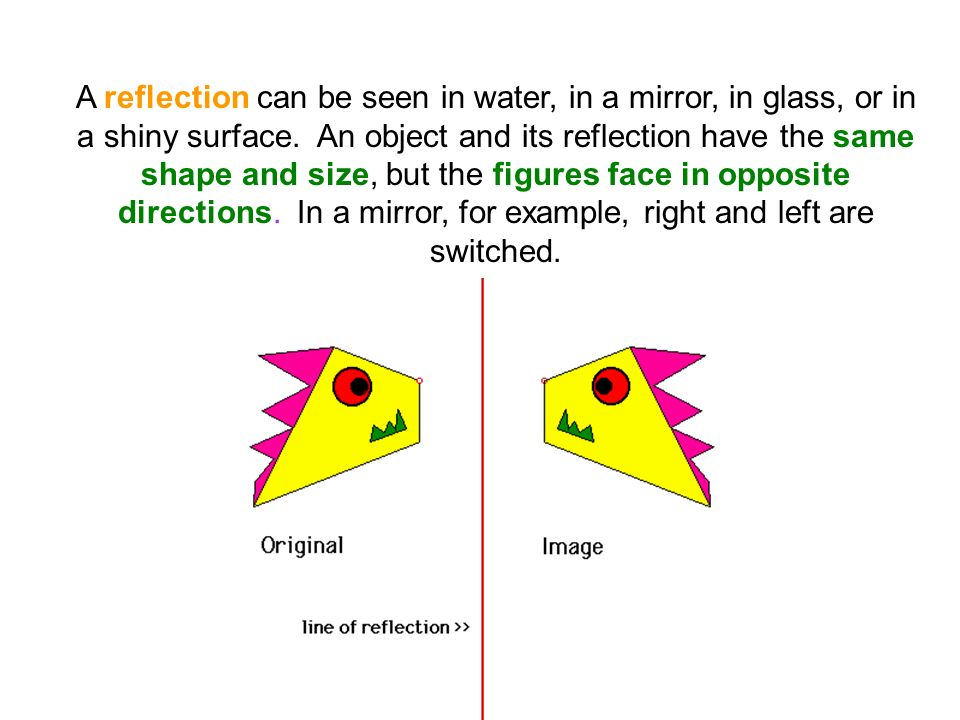 A reflection can be seen in water, in a mirror, in glass, or in a shiny surface. An object and its reflection have the same shape and size, but the figures face in opposite directions. In a mirror, for example, right and left are switched.