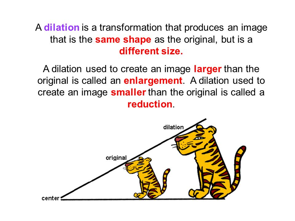 A dilation is a transformation that produces an image that is the same shape as the original, but is a different size.