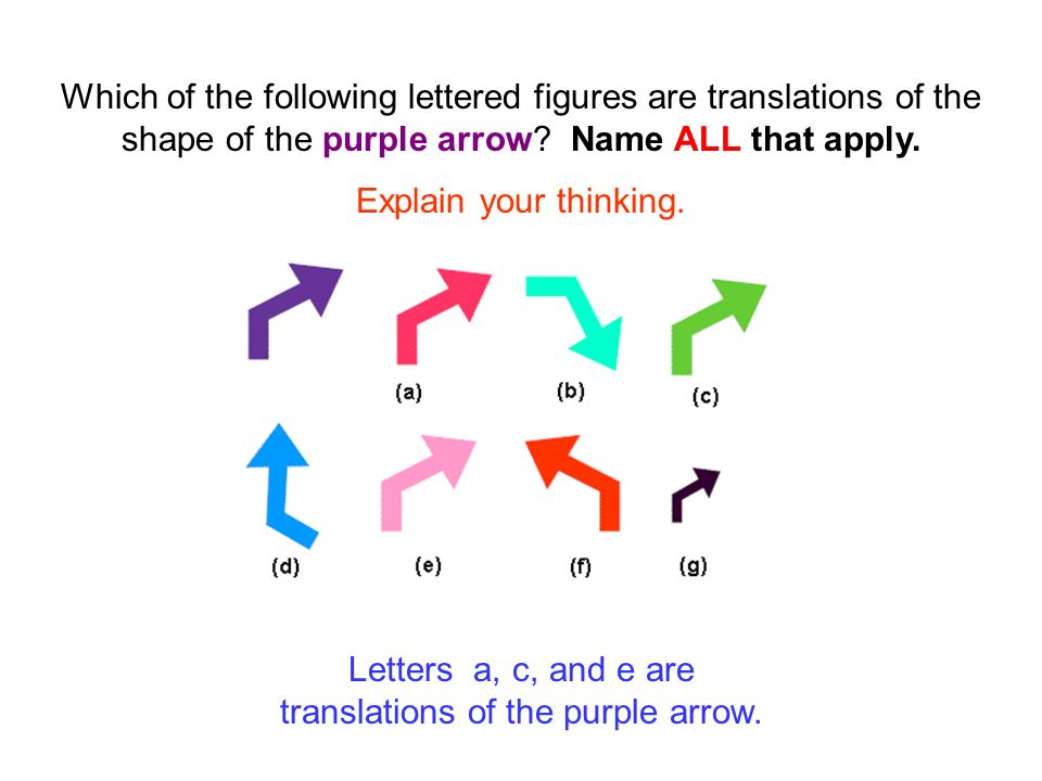 Letters a, c, and e are translations of the purple arrow.