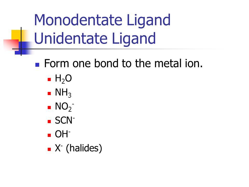 Monodentate Ligand Unidentate Ligand