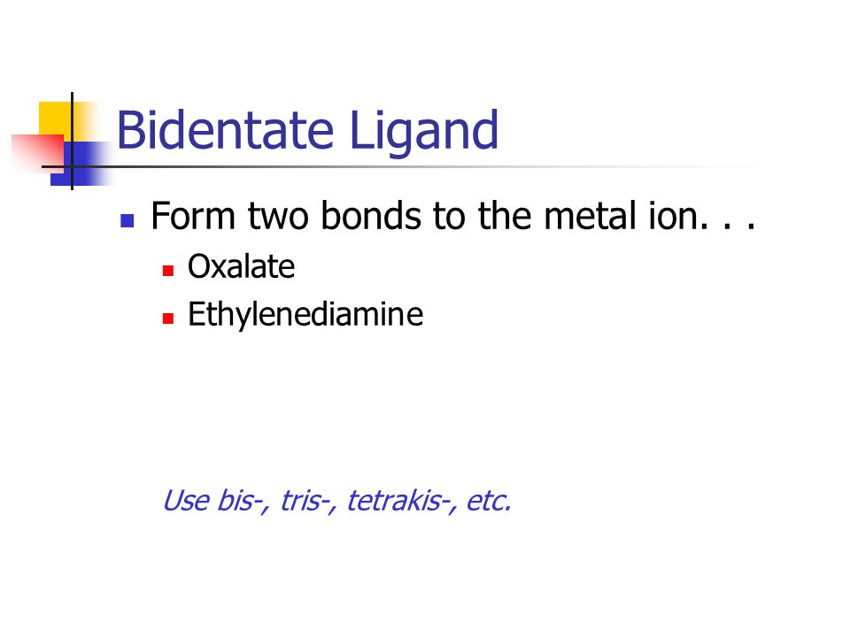 Bidentate Ligand Form two bonds to the metal ion. . . Oxalate