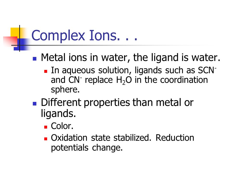 Complex Ions. . . Metal ions in water, the ligand is water.