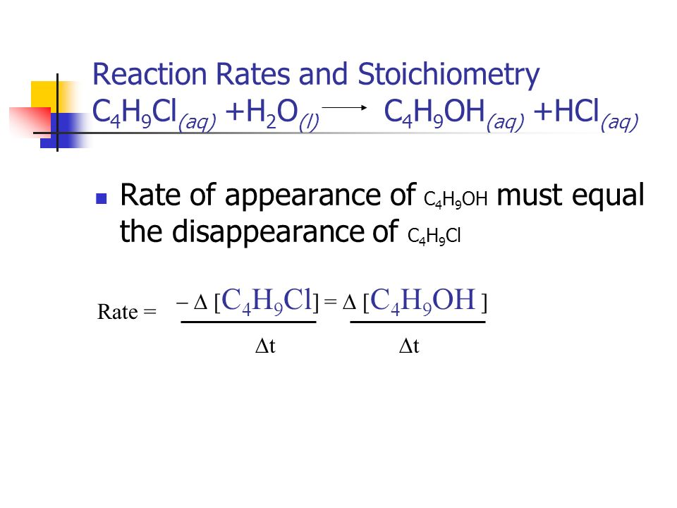 Rate of appearance of C4H9OH must equal the disappearance of C4H9Cl