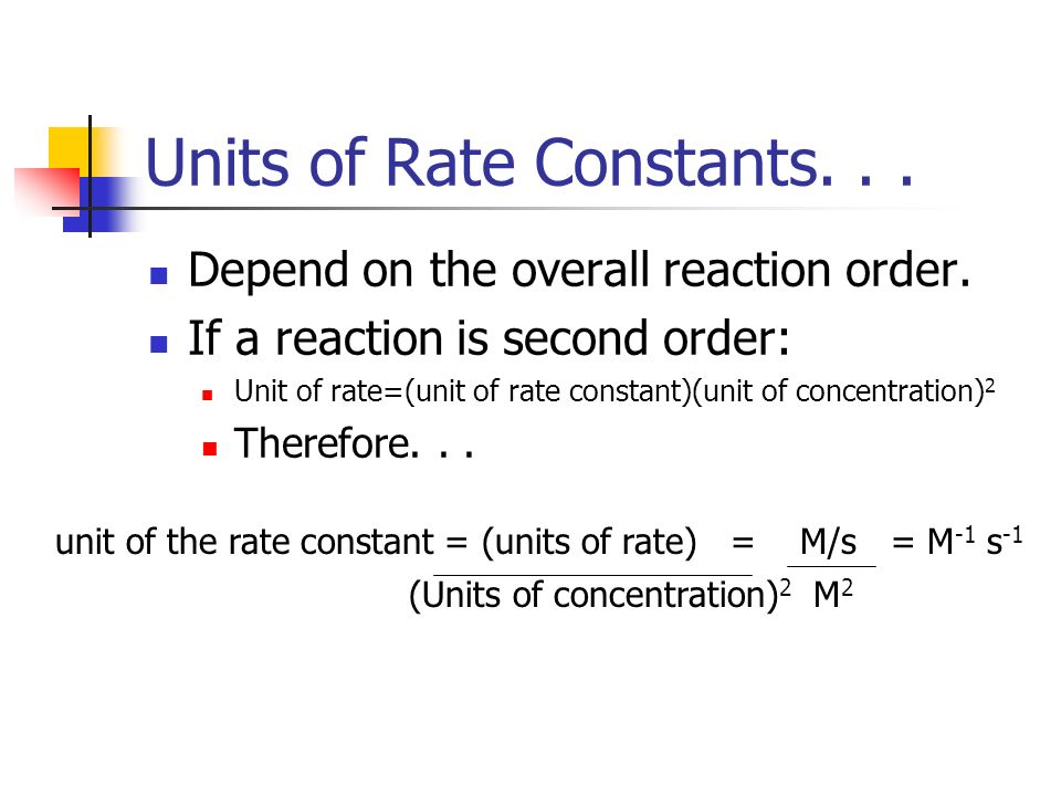 Units of Rate Constants. . .