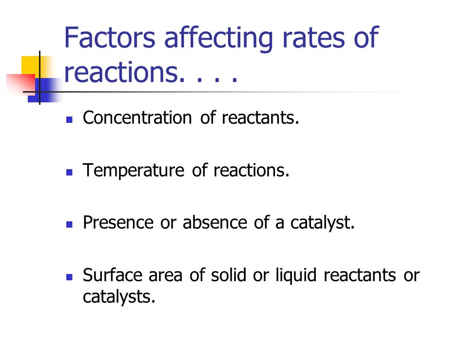 Factors affecting rates of reactions. . . .