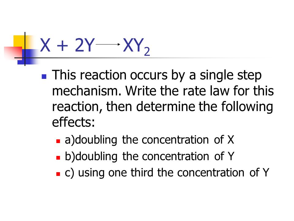 X + 2Y XY2 This reaction occurs by a single step mechanism. Write the rate law for this reaction, then determine the following effects: