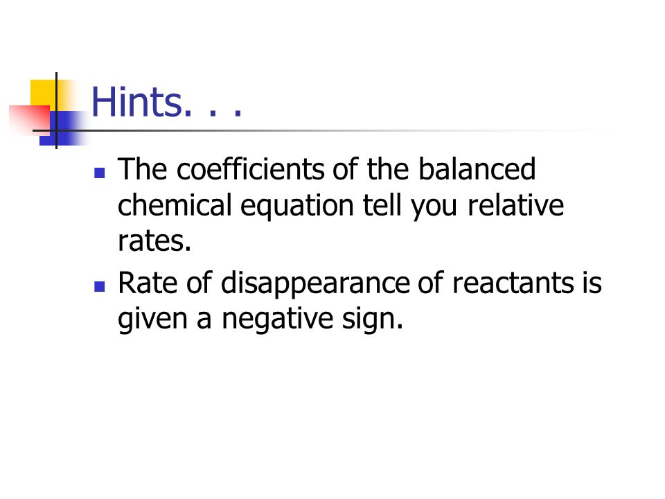 Hints. The coefficients of the balanced chemical equation tell you relative rates.
