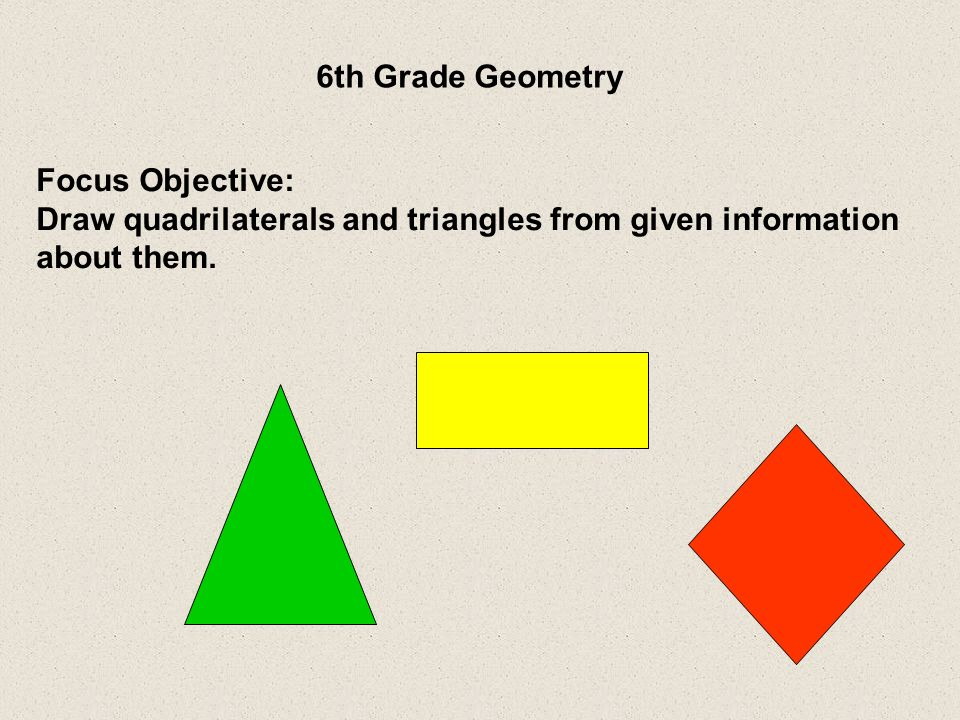 Draw quadrilaterals and triangles from given information about them.