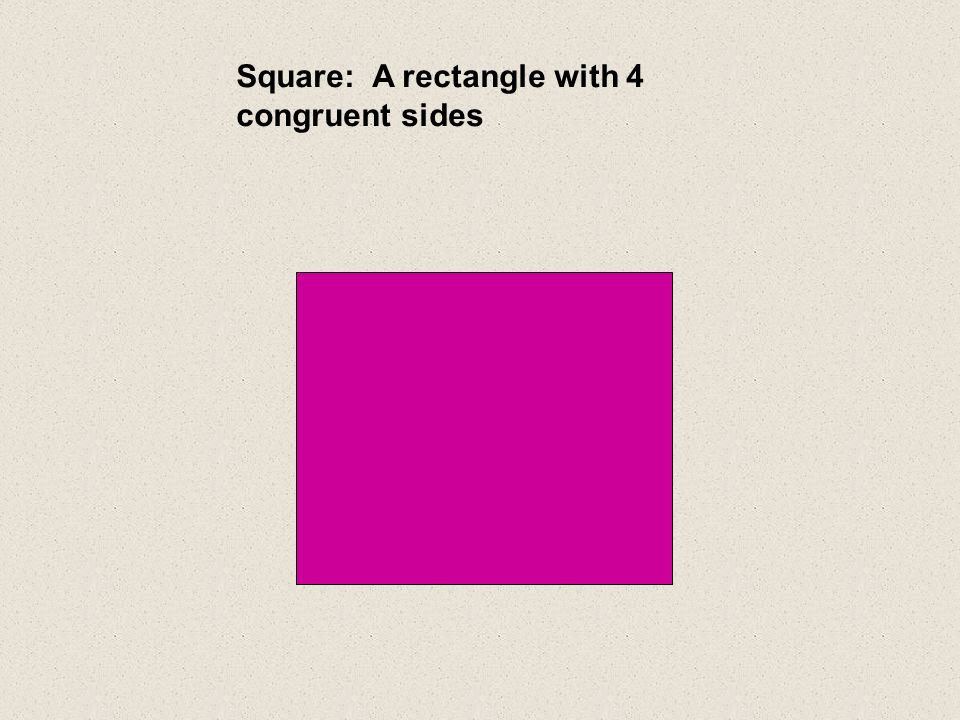 Square: A rectangle with 4 congruent sides