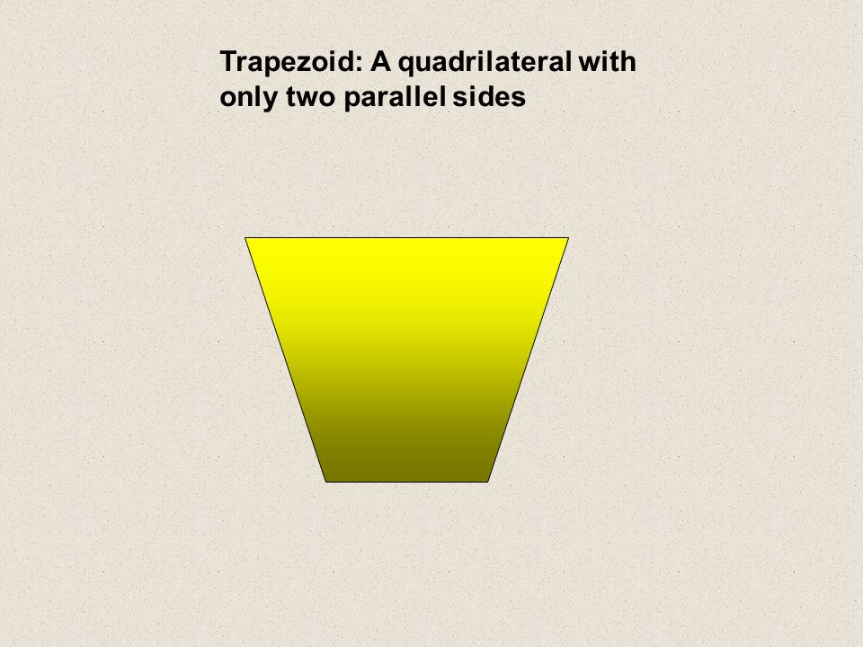 Trapezoid: A quadrilateral with only two parallel sides