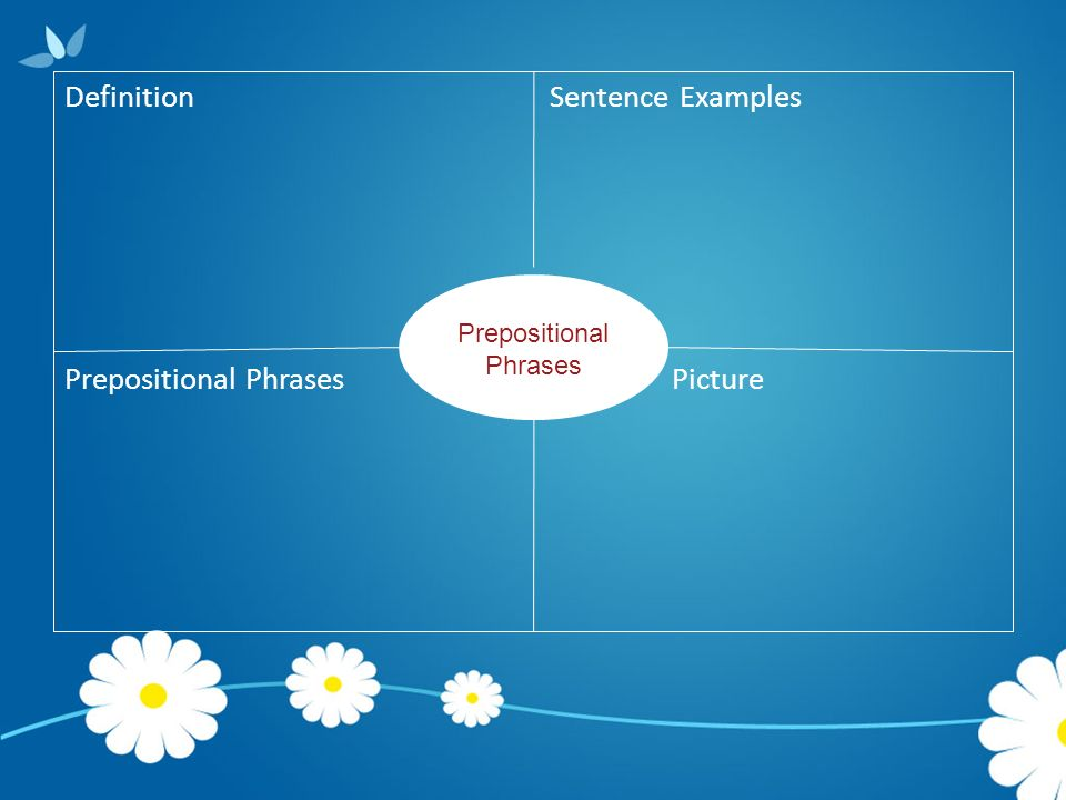 Definition Sentence Examples Prepositional Phrases Picture