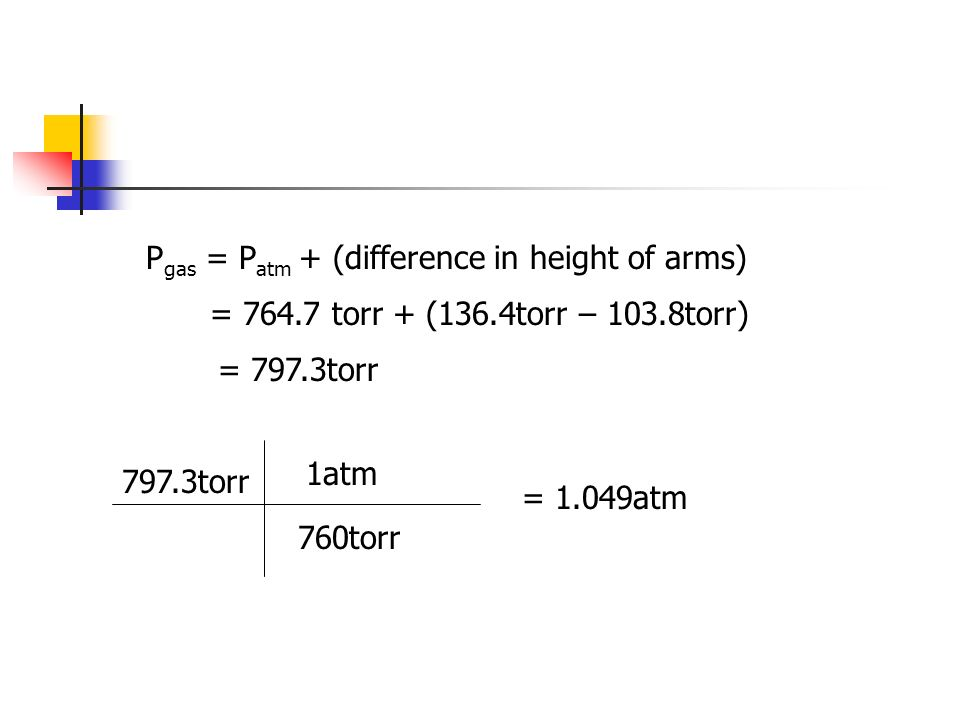 Pgas = Patm + (difference in height of arms)