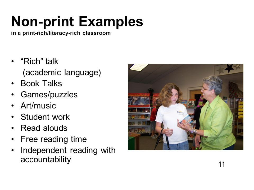Non-print Examples in a print-rich/literacy-rich classroom
