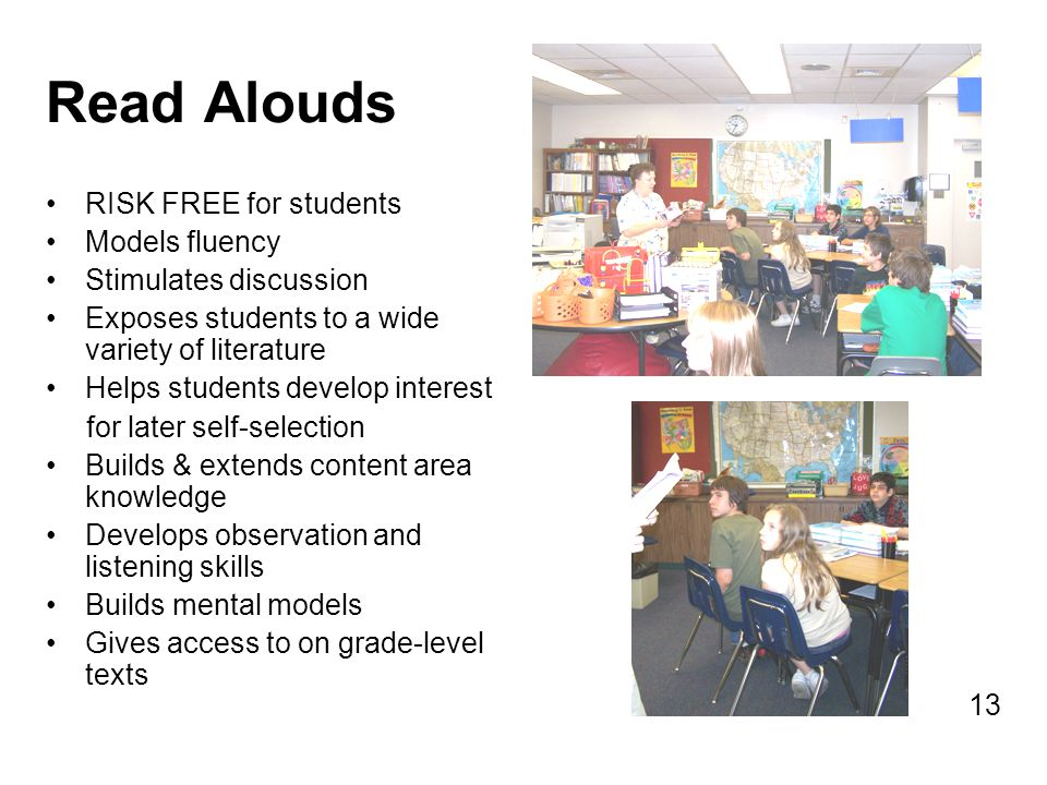 Read Alouds RISK FREE for students Models fluency