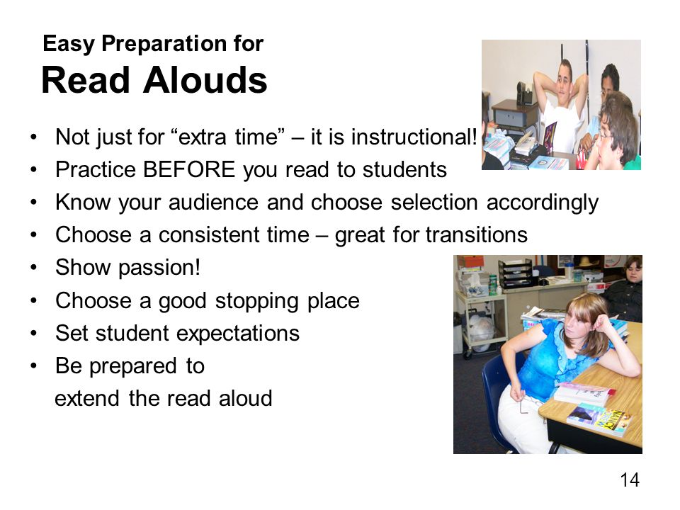 Easy Preparation for Read Alouds