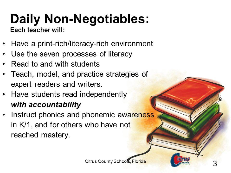 Daily Non-Negotiables: Each teacher will: