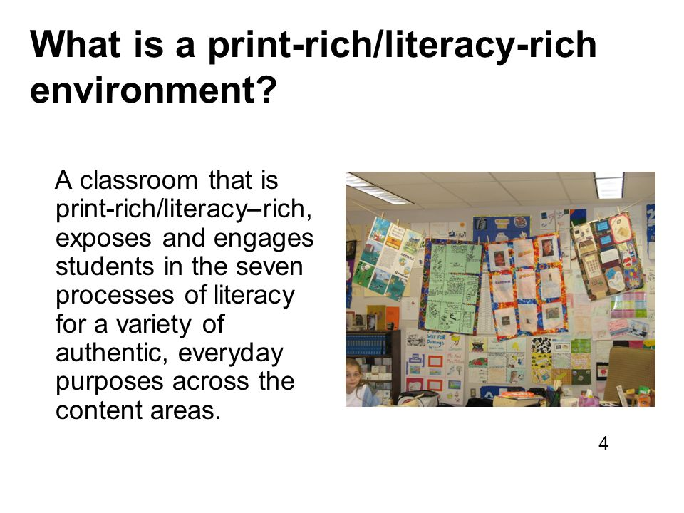 What is a print-rich/literacy-rich environment