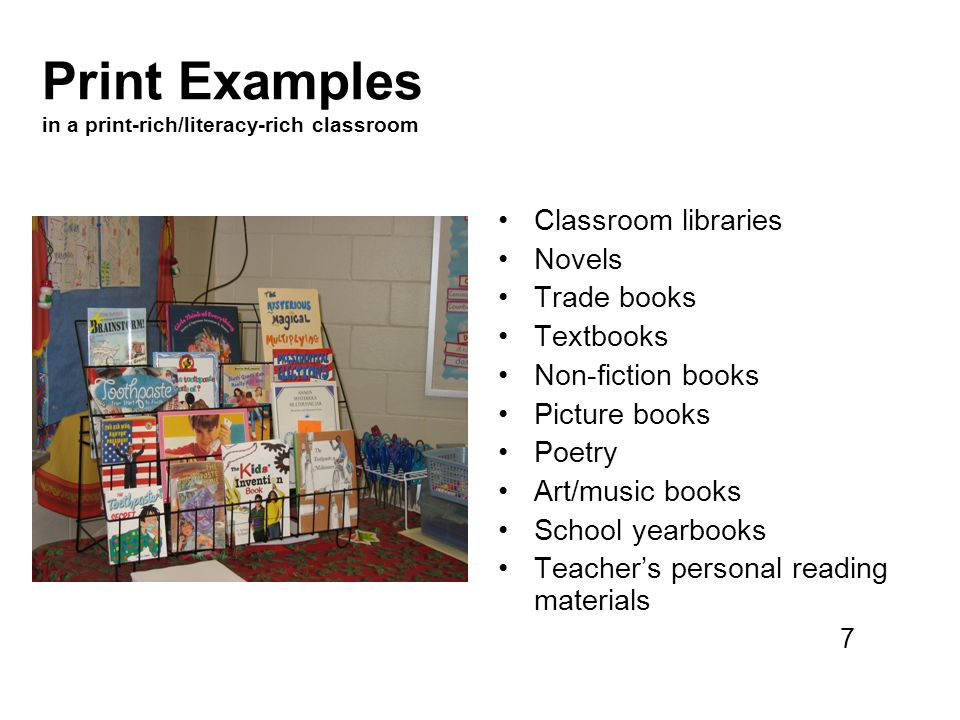 Print Examples in a print-rich/literacy-rich classroom