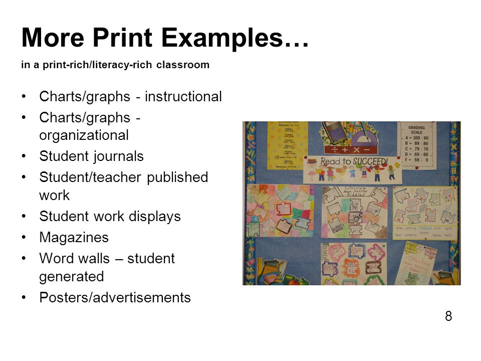 More Print Examples… in a print-rich/literacy-rich classroom