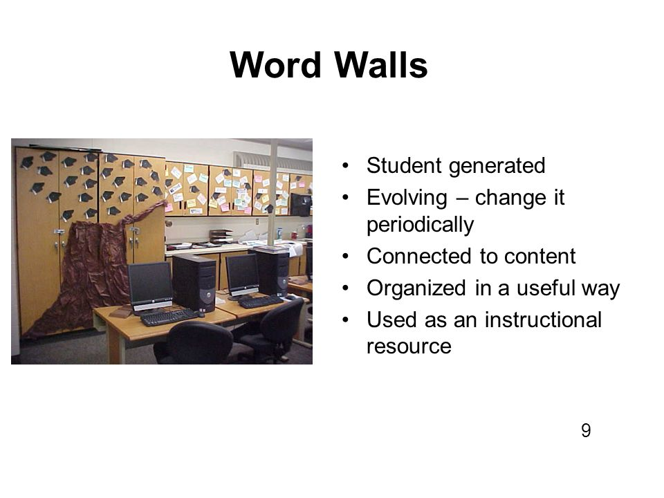 Word Walls Student generated Evolving – change it periodically