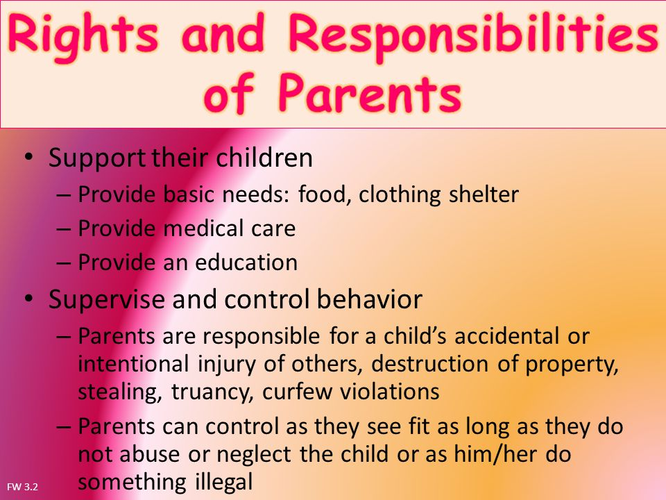 child violence and parents responsibility Where parental responsibility has been granted to an unmarried father under a parental responsibility order, a parental responsibility agreement, or registration on the child's birth certificate, a child or any other person with parental responsibility can make an application to the court to have it terminated.