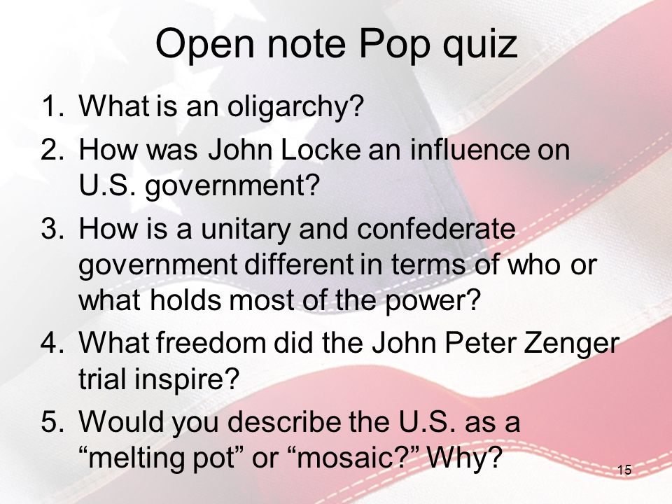 Open note Pop quiz What is an oligarchy