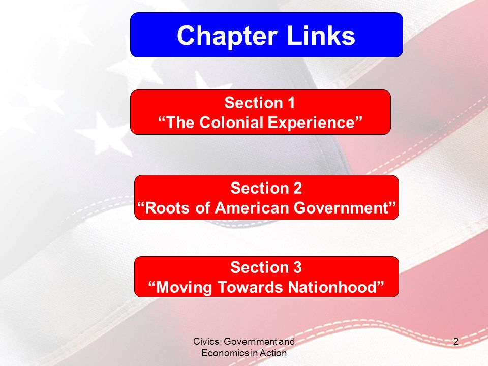 Chapter Links Section 1 The Colonial Experience Section 2