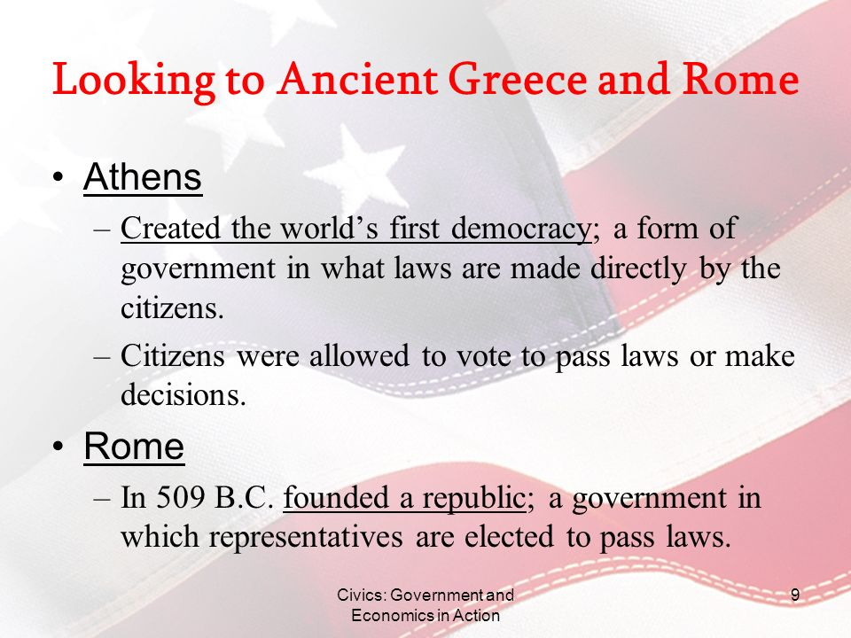 Looking to Ancient Greece and Rome