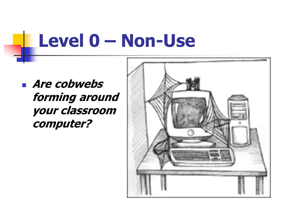Level 0 – Non-Use Are cobwebs forming around your classroom computer