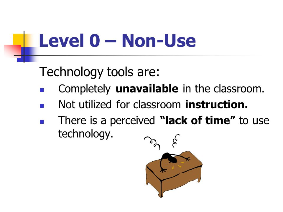 Level 0 – Non-Use Technology tools are: