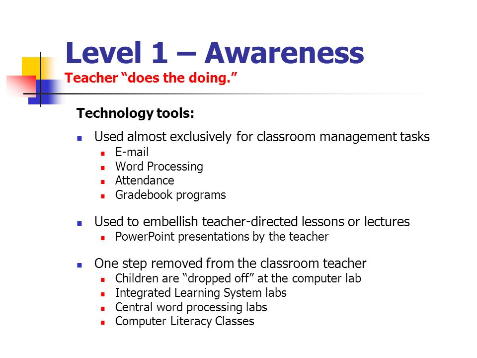 Level 1 – Awareness Teacher does the doing.