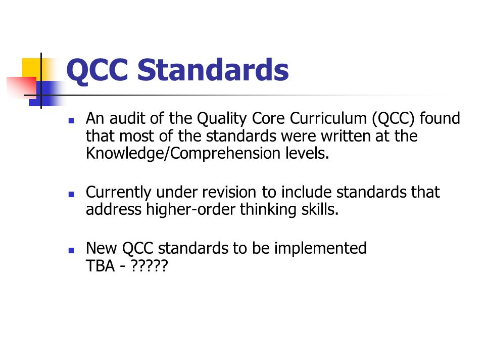QCC Standards An audit of the Quality Core Curriculum (QCC) found that most of the standards were written at the Knowledge/Comprehension levels.