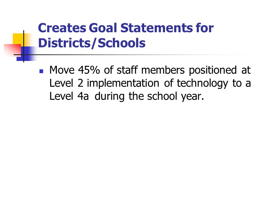 Creates Goal Statements for Districts/Schools