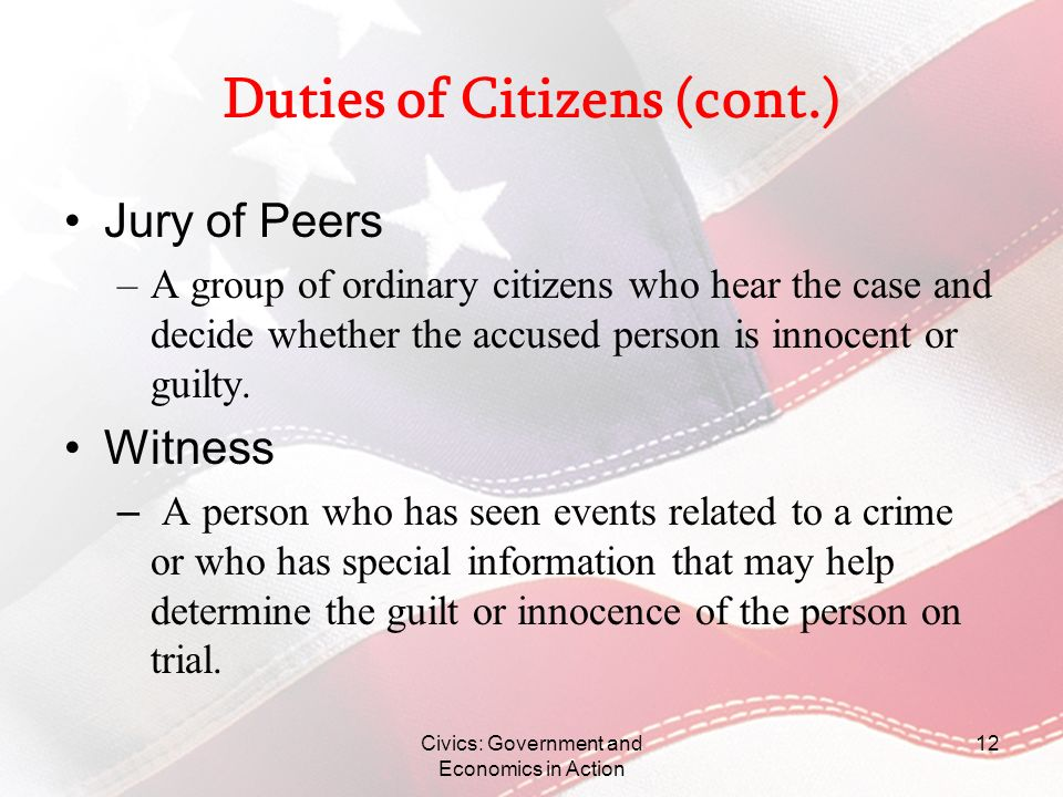 Duties of Citizens (cont.)