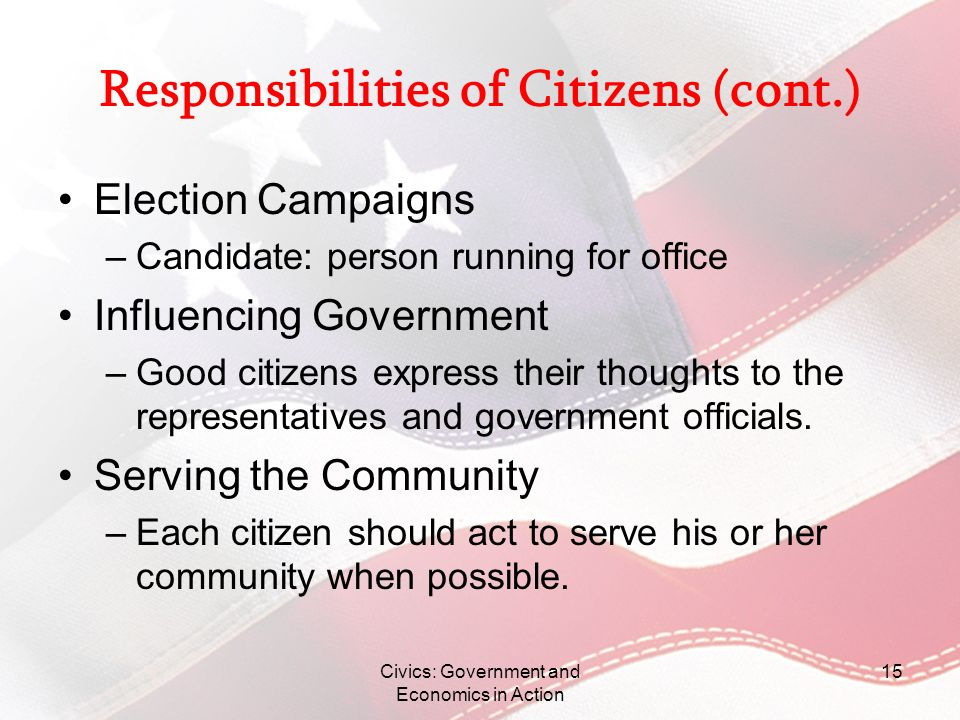 Responsibilities of Citizens (cont.)