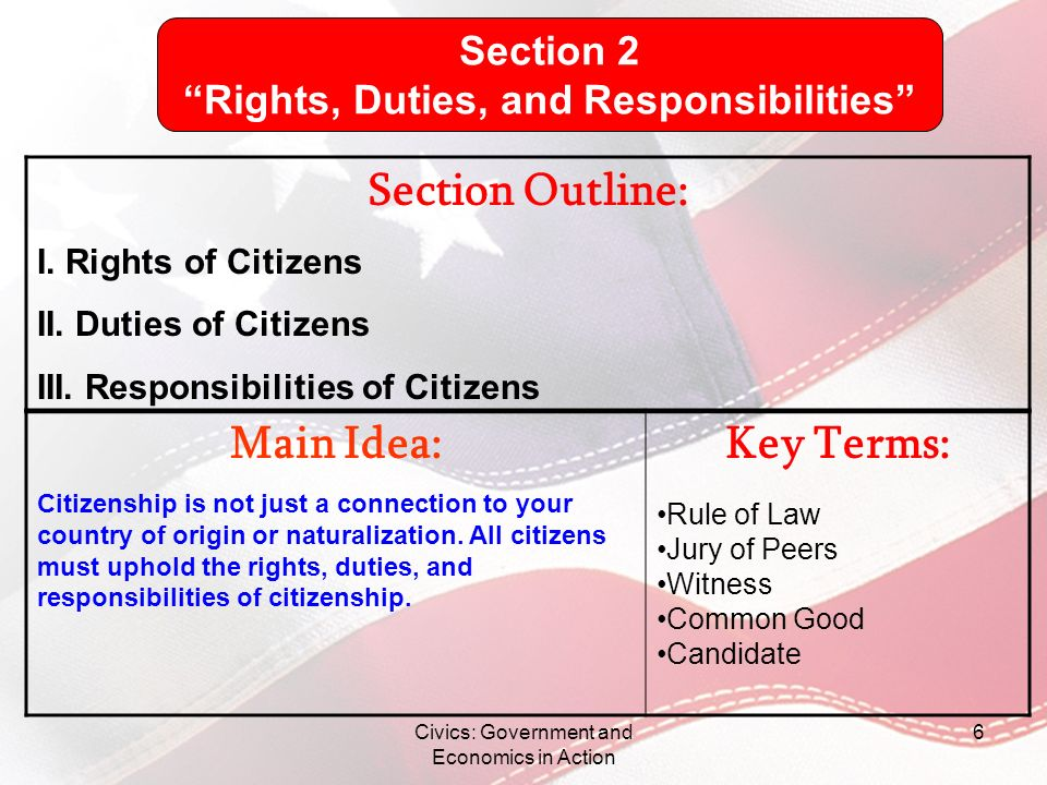 Rights, Duties, and Responsibilities