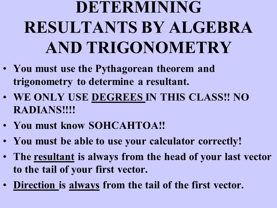 DETERMINING RESULTANTS BY ALGEBRA AND TRIGONOMETRY