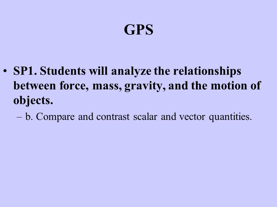 GPS SP1. Students will analyze the relationships between force, mass, gravity, and the motion of objects.