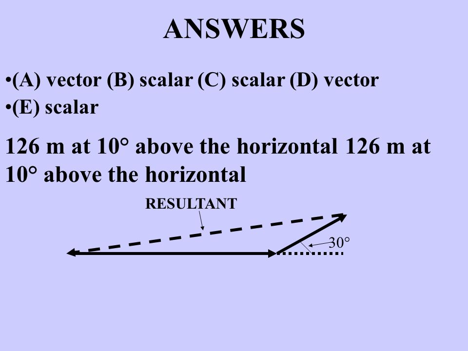 ANSWERS (A) vector (B) scalar (C) scalar (D) vector. (E) scalar. 126 m at 10° above the horizontal 126 m at 10° above the horizontal.