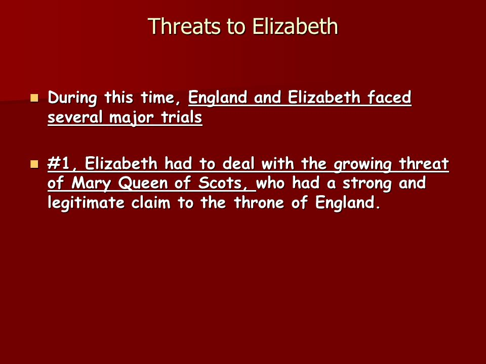 Threats to Elizabeth During this time, England and Elizabeth faced several major trials.
