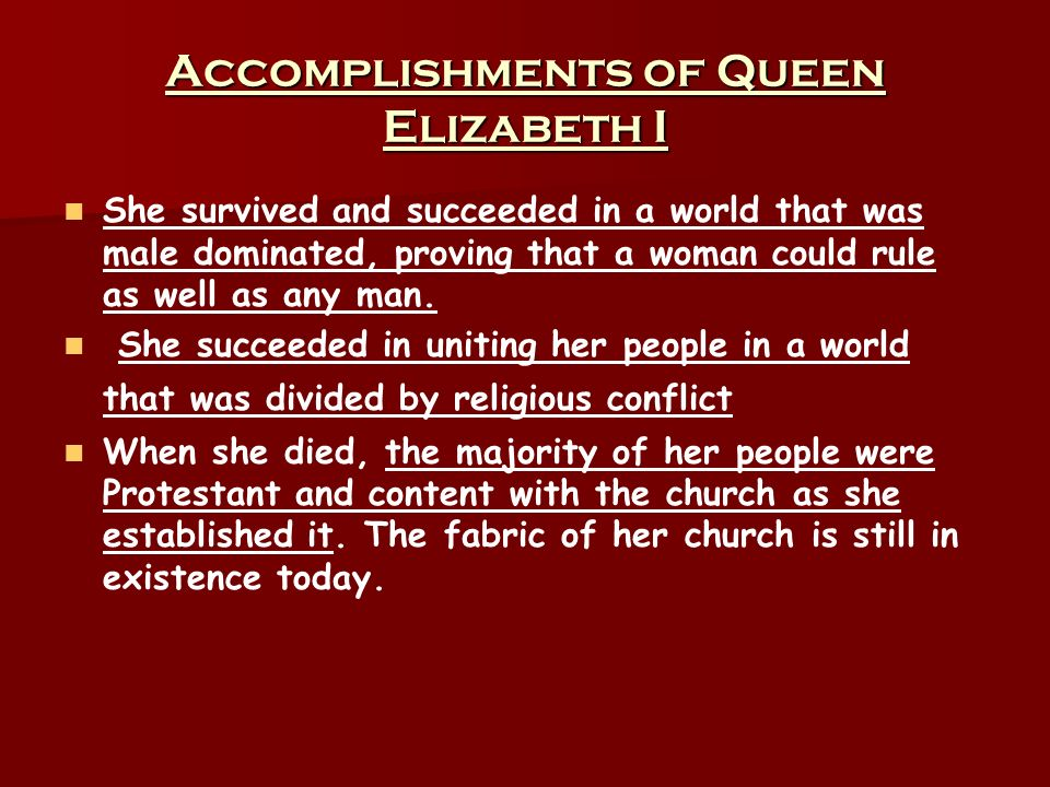 What are the Glorious Achievements of Queen Elizabeth?