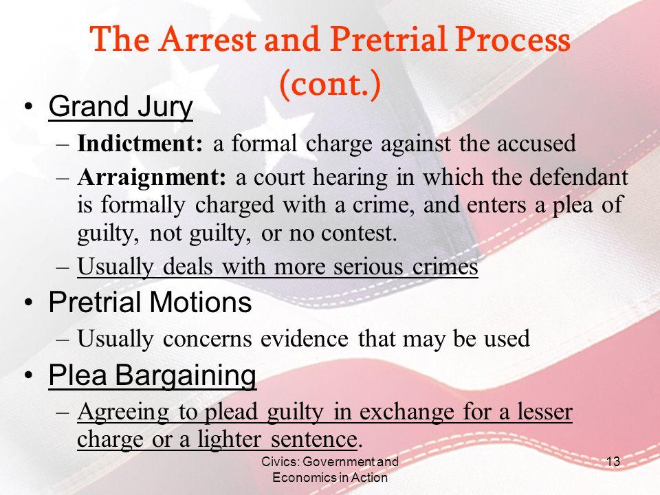 The Arrest and Pretrial Process (cont.)