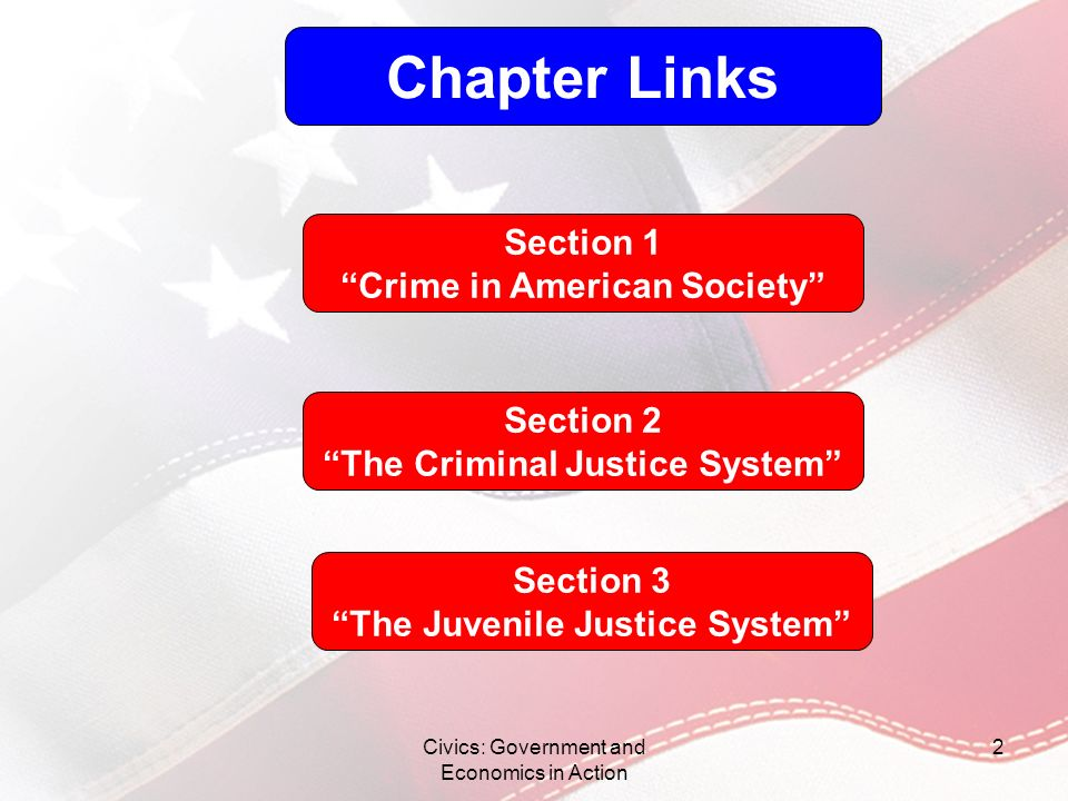 Chapter Links Section 1 Crime in American Society Section 2
