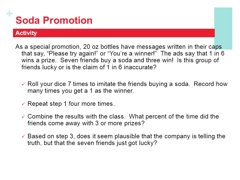 Soda Promotion Activity.