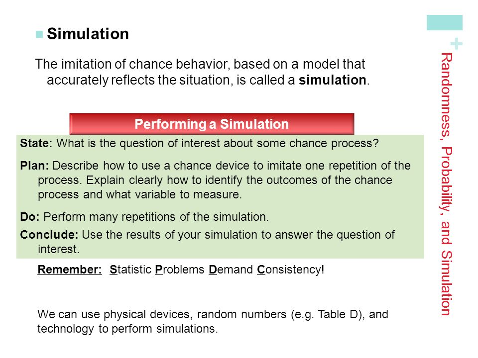 Randomness, Probability, and Simulation