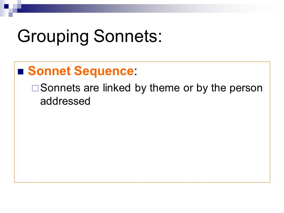 Grouping Sonnets: Sonnet Sequence: