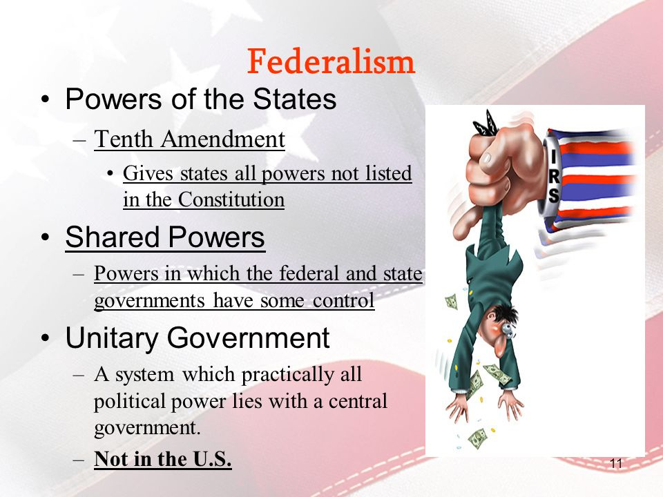 Federalism Powers of the States Shared Powers Unitary Government