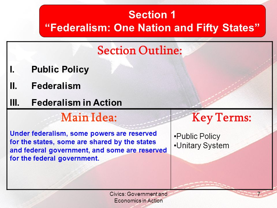 Federalism: One Nation and Fifty States
