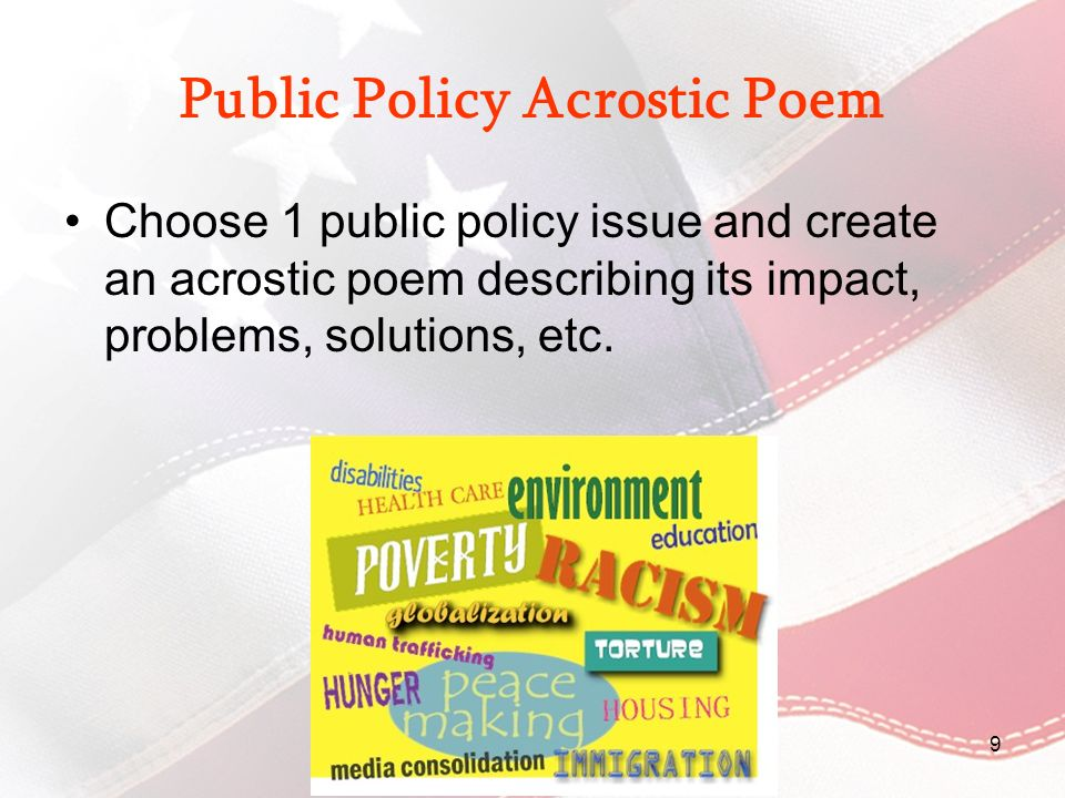 Public Policy Acrostic Poem